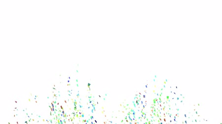 Multicolored confetti explosion. Holiday or party background. Alpha channel, 4K