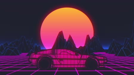 Retro-futuristic 80s style sci-Fi car background. Seamless loop 3D video animation