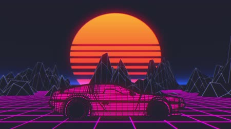 th : Retro futuristic seamless animation of a car with a sun in the background