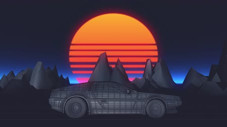 Retro futuristic seamless animation of a car with a sun in the background