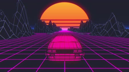 Retro future, 80s style Sci-Fi Background. Futuristic car. 3d animation