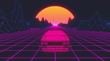 elektro : Retro futuristic seamless animation of a car with a sun in the background