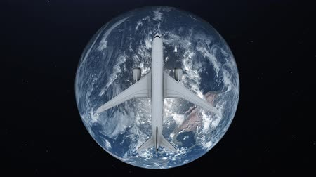 континент : Travel concept of airplane flying around earth. View from space