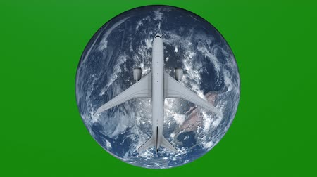 continentes : Travel concept of airplane flying around earth. View from space Green Screen