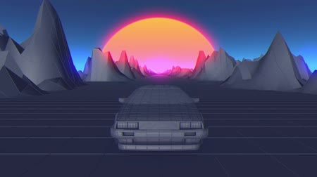brochura : Retro futuristic seamless animation of a car with a sun in the background
