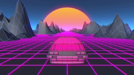 dyskoteka : Cyberpunk car in 80s style moves on a virtual neon landscape