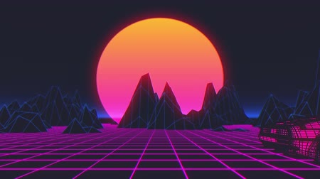 Retro futuristic 80s style sci-Fi car background. Seamless loop 3D video animation Dostupné videozáznamy