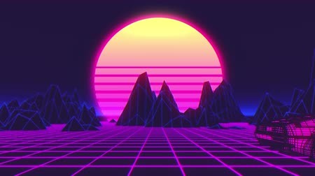 Car future synthwave style back to the 1980. Seamless loop 3D video animation
