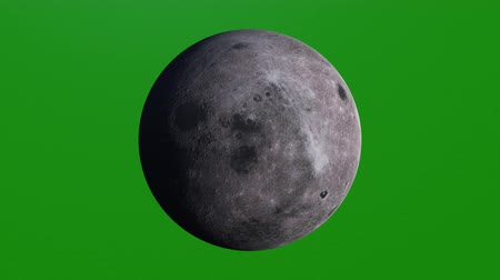 luna : Realistic Planet Moon, Luna, Lunar. Beautiful texture and moonlight in green screen. Moon rotating in deep space Stock Footage