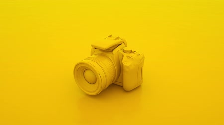Yellow DSLR Camera. Simple 3D Animation Background