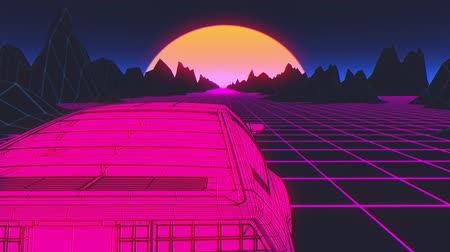 ポリゴン : Retro futuristic seamless animation of a car with a sun in the background