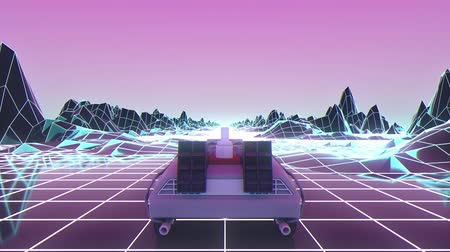 futurismus : Retro-futuristic 80s style sci-Fi car background. Seamless loop 3D video animation