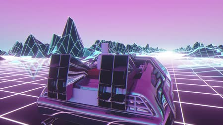 Retro future, 80s style Sci-Fi Background. Futuristic car. Seamless loop 3d video animation