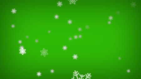 Isolated falling cartoon snow on green screen