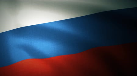 Russian Flag waving in wind in slow motion. Close up of Russian flag