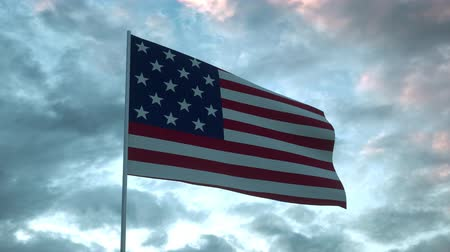 mastro de bandeira : USA flag waving isolated on dramatic sky. Close up of United States of America flag, 3d rendering