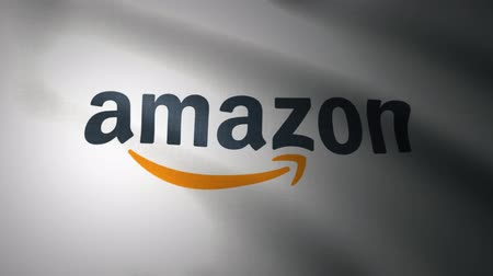 official : Waving flag with Amazon logo, close-up. Editorial loopable 3D animation
