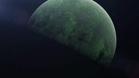 craters : Realistic Green Alien Planet in the outer space, 3d animation Stock Footage