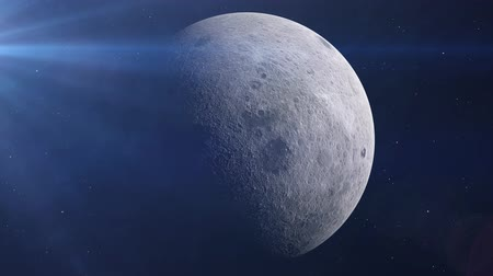 lunar surface : Realistic Moon in the outer space, 3d animation
