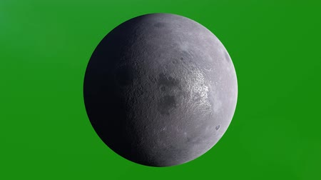 tela : Realistic Planet Moon, Luna, Lunar Rotating, 4K. Perfect for your own background using green screen. High detailed texture