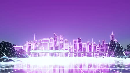 digital code : Digital Sci-fi city with a neon lighting. Technology concept. 3d rendering