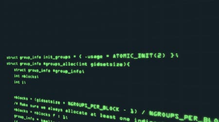 digital code : Hacker code running down a computer screen terminal. Motion 3D rendering Stock Footage