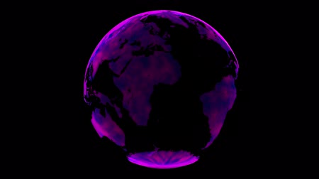 politik : Pink digital Hologram planet Earth. Countries hologram flying in cyberspace. Rotating scientific 3D planet Futuristic business connectivity technology Abstract background concept