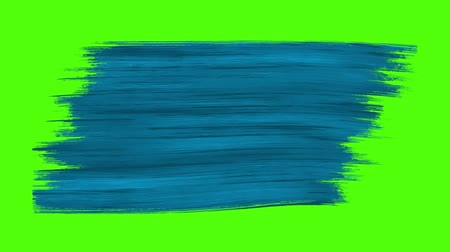 граффити : Abstract blue painted brush stroke transition on green screen. 4K