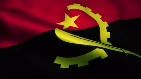 эмблема : Angola flag waving in the wind. National flag of Angola. Sign of Angola seamless loop animation. 4K Стоковые видеозаписи