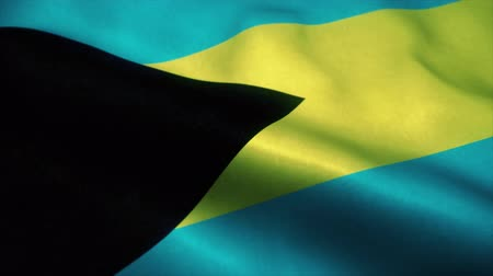 official : Bahama islands flag waving in the wind. Sign of Bahama islands seamless loop animation. 4K Stock Footage