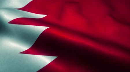 эмблема : Bahrain flag waving in the wind. National flag of Bahrain. Sign of Bahrain seamless loop animation. 4K