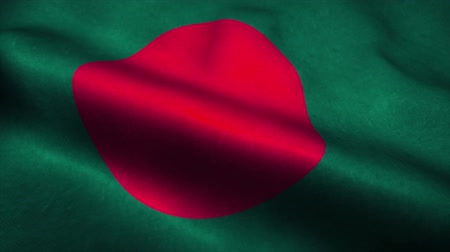 эмблема : Bangladesh flag waving in the wind. National flag of Bangladesh. Sign of Bangladesh seamless loop animation. 4K