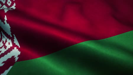 independence : Belarus flag waving in the wind. National flag of Belarus. Sign of Belarus seamless loop animation. 4K