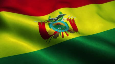 official : Bolivian flag waving in the wind. National flag of Bolivian. Sign of Bolivian seamless loop animation. 4K Stock Footage