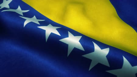 эмблема : Bosnia and Herzegovina flag waving in the wind. National flag of Bosnia and Herzegovina. Sign of Bosnia and Herzegovina seamless loop animation. 4K