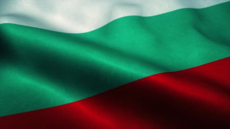 эмблема : Bulgaria flag waving in the wind. National flag of Bulgaria. Sign of Bulgaria seamless loop animation. 4K