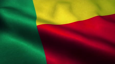 independence : Benin flag waving in the wind. National flag of Benin. Sign of Benin seamless loop animation. 4K