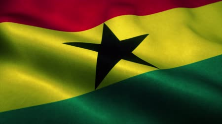 эмблема : Ghana flag waving in the wind. National flag of Ghana. Sign of Ghana seamless loop animation. 4K