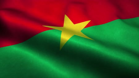 эмблема : Burkina Faso flag waving in the wind. National flag of Burkina Faso. Sign of Burkina Faso seamless loop animation. 4K Стоковые видеозаписи