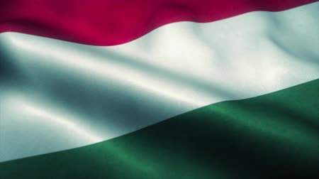 эмблема : Hungary flag waving in the wind. National flag of Hungary. Sign of Hungary seamless loop animation. 4K