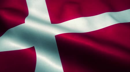 official : Denmark flag waving in the wind. National flag of Denmark. Sign of Denmark seamless loop animation. 4K Stock Footage