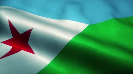 official : Djibouti flag waving in the wind. National flag of Djibouti. Sign of Djibouti seamless loop animation. 4K