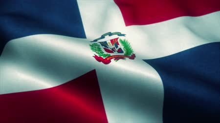 bandeira americana : Dominican Republic flag waving in the wind. National flag of Dominican Republic. Sign of Dominican Republic seamless loop animation. 4K