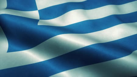 görög : Greek flag waving in the wind. National flag of Greek. Sign of Greek seamless loop animation. 4K Stock mozgókép