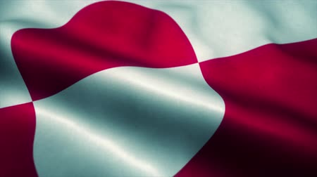 wapperende vlag : Greenland flag waving in the wind. National flag of Greenland. Sign of Greenland seamless loop animation. 4K Stockvideo