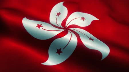 эмблема : Hong Kong flag waving in the wind. National flag of Hong Kong. Sign of Hong Kong seamless loop animation. 4K
