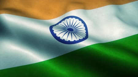 эмблема : India flag waving in the wind. National flag of India. Sign of India seamless loop animation. 4K