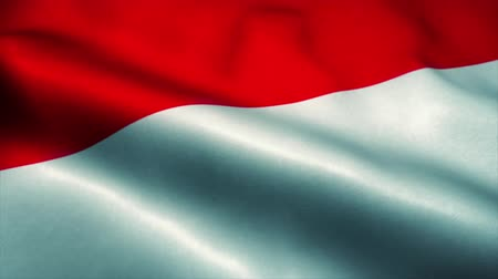 эмблема : Indonesia flag waving in the wind. National flag of Indonesia. Sign of Indonesia seamless loop animation. 4K