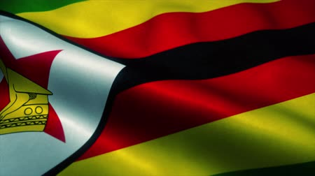 эмблема : Zimbabwe flag waving in the wind. National flag of Zimbabwe. Sign of Zimbabwe seamless loop animation. 4K