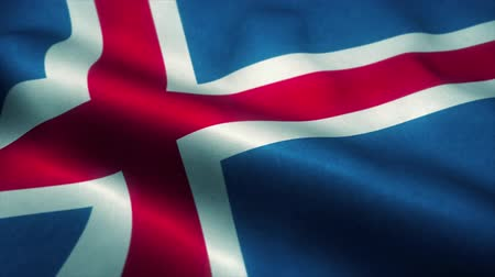 эмблема : Iceland flag waving in the wind. National flag of Iceland. Sign of Iceland seamless loop animation. 4K